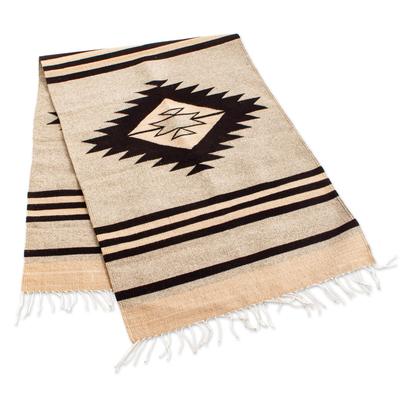 Zapotec wool runner, 'Diamond Pyramid' (3x8) - Ivory and Black Zapotec Wool Runner (3x8)