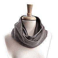 Cotton infinity scarf, 'Soft Grey Clouds' - Handwoven Grey Cotton Infinity Scarf from Mexico