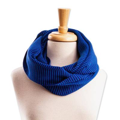 Cotton infinity scarf, 'Soft Blue Clouds' - Handwoven Blue Cotton Infinity Scarf from Mexico