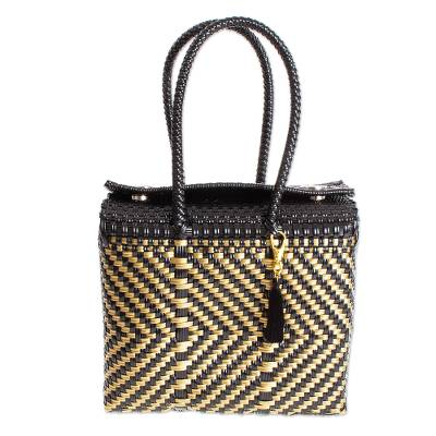 Handwoven Black & Gold Vinyl Twill Tote from Mexico