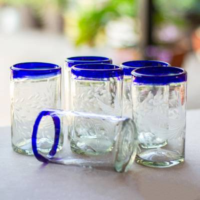 Blown glass tumblers, 'Paloma' (set of 6) - Clear Recycled Blown Glass Tumblers (Set of 6)