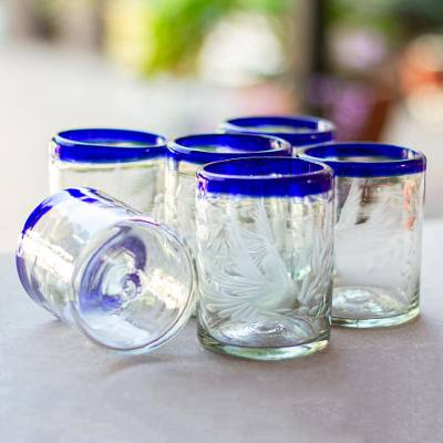Blown glass juice glasses, 'Paloma' (set of 6) - Blue-rimmed Etched Clear Juice Glasses (Set of 6)