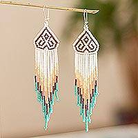 Long beaded waterfall earrings, 'Huichol Chevron in Plum' - Long Huichol Style Beaded Dangle Earrings