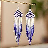 Long beaded waterfall earrings, 'Huichol Chevron in Blue' - Long Beaded Chandelier Earrings