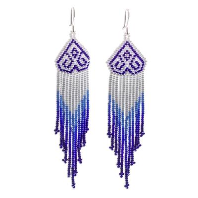 Long beaded waterfall earrings, 'Huichol Chevron in Blue' - Long Beaded Chandelier Earrings