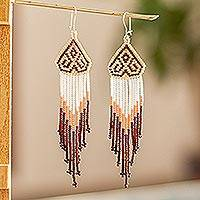 Long beaded waterfall earrings, 'Huichol Chevron in Mahogany' - Beaded Long Waterfall Earrings from Mexico
