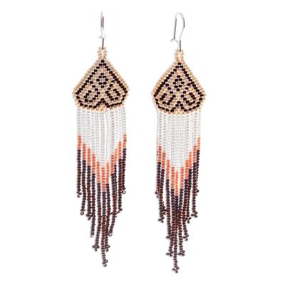 Long beaded waterfall earrings, 'Huichol Chevron in Mahogany' - Beaded Long Waterfall Earrings from Mexico