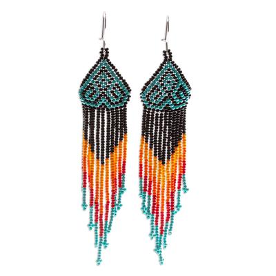 Long beaded waterfall earrings, 'Huichol Chevron in Black' - Extra Long Beaded Huichol-Style Earrings