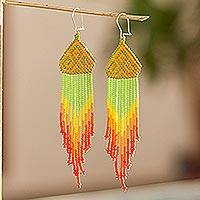 Long beaded waterfall earrings, 'Huichol Chevron in Saffron' - Huichol-Style Long Beaded Earrings