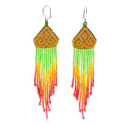 Long beaded waterfall earrings, 'Huichol Chevron in Saffron' - Huichol-Style Long Beaded Earrings