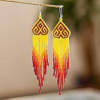 Long beaded waterfall earrings, 'Huichol Chevron in Red' - Colorful Long Beaded Waterfall Earrings
