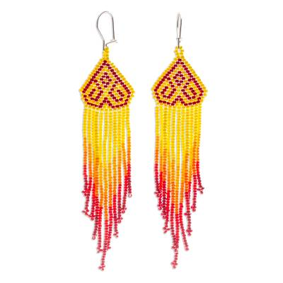 Long beaded waterfall earrings, 'Huichol Chevron in Red' - Colorful Long Beaded Waterfall Earrings