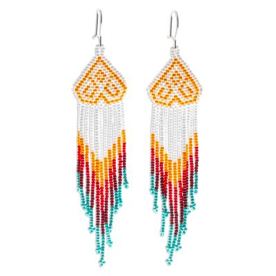 Long beaded waterfall earrings, 'Huichol Chevron in White' - Multicolored Hand Crafted Long Beaded Earrings
