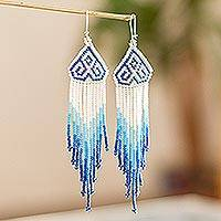 Long beaded waterfall earrings, 'Huichol Chevron in Azure' - Blue and White Huichol Beaded Dangle Earrings