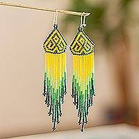 Long beaded waterfall earrings, 'Huichol Chevron in Green' - Green and Yellow Long Huichol-Style Earrings