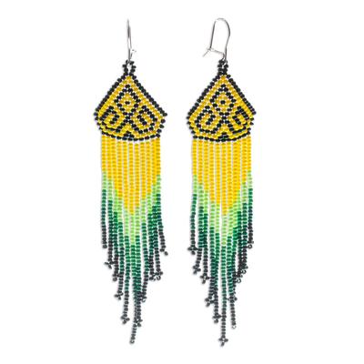 Long beaded waterfall earrings, 'Huichol Chevron in Green' - Green and Yellow Long Huichol-Style Earrings