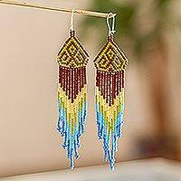 Long beaded waterfall earrings, 'Huichol Chevron in Avocado' - Multicolored Beaded Waterfall Earrings