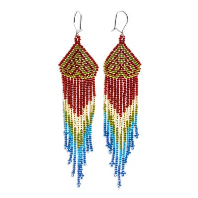 Long beaded waterfall earrings, 'Huichol Chevron in Avocado' - Multicolored Beaded Waterfall Earrings