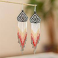 Long beaded waterfall earrings, 'Huichol Chevron in Grey' - Dramatic Extra Long Huichol Beaded Earrings