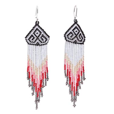 Long beaded waterfall earrings, 'Huichol Chevron in Grey' - Dramatic Extra Long Huichol Beaded Earrings