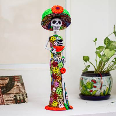 Ceramic sculpture, 'Death is Not the End' - Colorful Handmade Catrina Statuette from Mexico