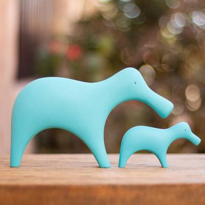 Resin sculptures, 'Turquoise Platypuses' (pair) - 2 Minimalist Turquoise Platypus Resin Sculptures from Mexico
