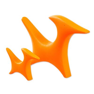 2 Minimalist Orange Resin Mom Dog & Puppy Sculptures