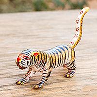 Wood alebrije sculpture, 'Brilliant Tiger'