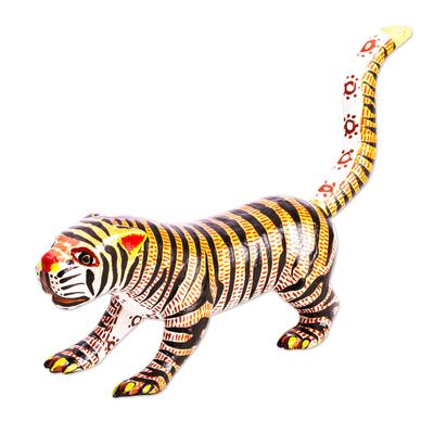 Small Cedar Wood Tiger Alebrije Sculpture