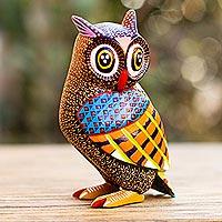 Wood alebrije sculpture, 'Wide-Eyed Owl'