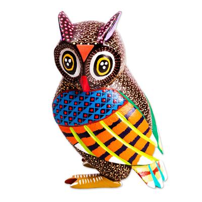 Wood alebrije sculpture, 'Wide-Eyed Owl' - Oaxacan Owl Alebrije Handmade from Cedar
