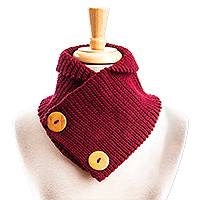 Cotton blend neck warmer, 'Wine Warmth' - Hand Crocheted Wine Red Neck Warmer