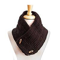 Cotton blend neck warmer, 'Warm Ebony' - Hand Crocheted Black Neck Warmer