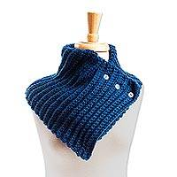 Cotton blend neck warmer, 'Cozy Peacock' - Peacock Blue Cotton Blend Neck Warmer