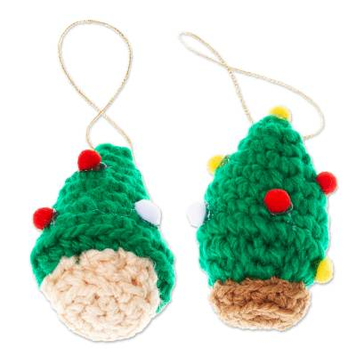 Crocheted Christmas Tree Ornaments (Pair)