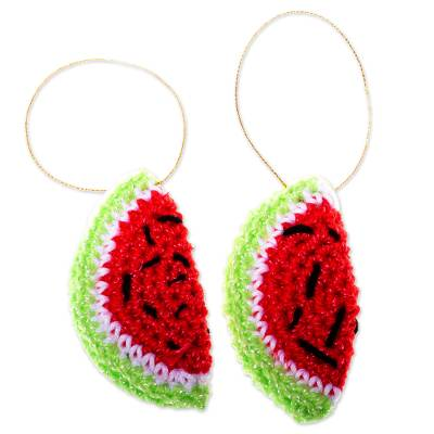Artisan Crafted Watermelon Ornaments (Pair)