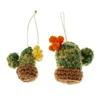 Unique Crocheted Cactus Christmas Ornaments (Pair)