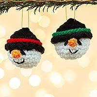 Crocheted ornaments, 'Snowman Smiles' (pair) - Handmade Crocheted Snowman Head Ornaments (Pair)