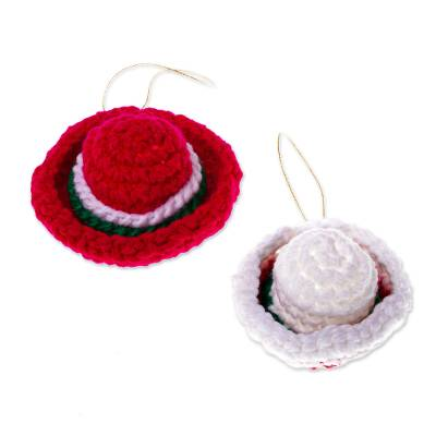 Hand Crocheted Sombrero Christmas Ornaments (Pair)