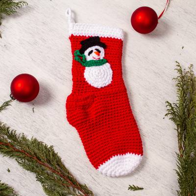 Crocheted Christmas stocking, 'Snowman Cheer' - Snowman-Motif Crocheted Christmas Stocking