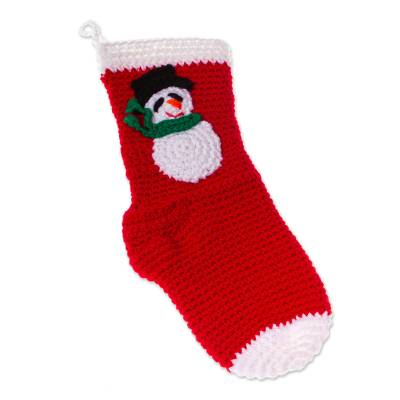 Snowman-Motif Crocheted Christmas Stocking