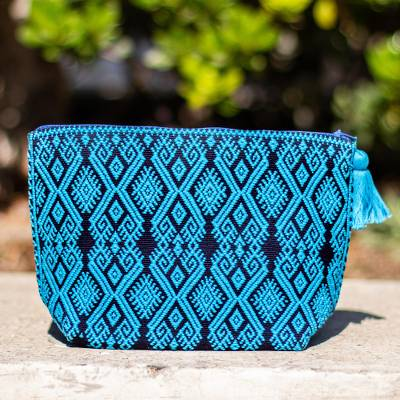 Cotton cosmetic bag, 'Turquoise Starshine' - Starburst Motif Embroidered Handwoven Cotton Cosmetic Bag