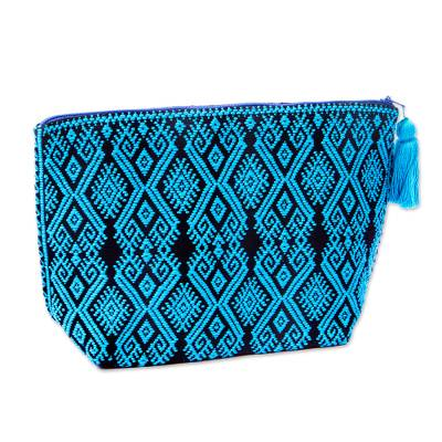 Starburst Motif Embroidered Handwoven Cotton Cosmetic Bag