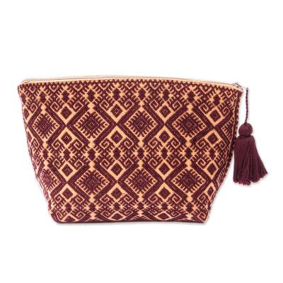 Brown Star Motif Embroidered Handwoven Cotton Cosmetic Bag