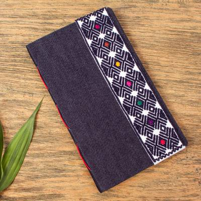 Fabric-covered journal, 'Chiapas Diamonds' - Blue Denim Covered Recycled Paper Journal