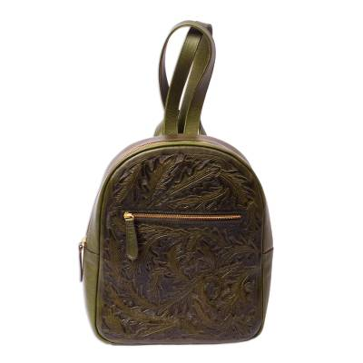 Hand Tooled Olive Leather Backpack