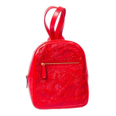 Bright Red Tooled Leather Backpack