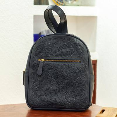 Tooled leather backpack, 'Falling Leaves in Navy' - Hand Crafted Navy Leather Backpack