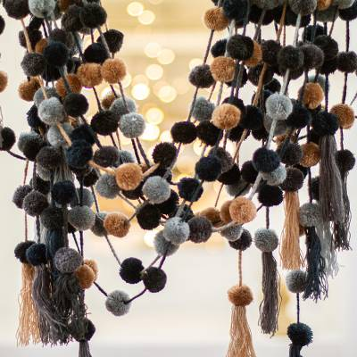 Cotton pom-pom garlands, 'Night Time' (set of 10) - Black and Grey Cotton Pom-Pom Garlands (Set of 10)