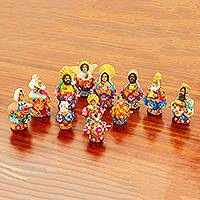 Ceramic nativity scene, 'Clay Pot Christmas' (12 pieces) - Colorful Mexican Ceramic Petite Nativity Scene (12 Pieces)